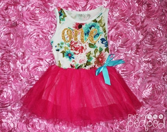 """One Tutu Dress Glitter First Birthday Baby Girl - """"One"""" 1st First Birthday Outfit - Floral Print & Hot Pink Tutu Skirt with Gold Glitter"""