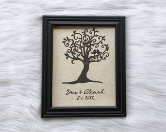 Personalized Cotton Anniversary Gift, Wedding Present, Wedding Names and Date, Unique Tree, Linen Anniversary, Engagement Gift, Burlap