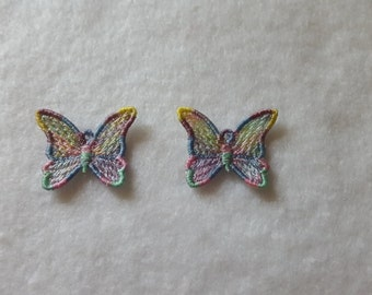 Butterfly FSL Earrings embroidery design / Machine embroidery / Variegated thread uses / Jewelry DIY