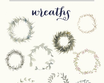 Hand painted watercolor wreaths clipart-INSTANT DOWNLOAD DIY