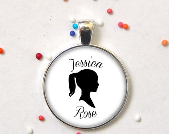 Custom silhouette pendant -custom name pendant - keepsake necklace, keychain, or memory charm - personalized - gift
