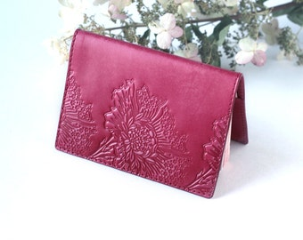 Personalized Passport Cover - Maroon Leather Passport Holder - Monogram Passport - Hand Painted Tooled Leather Personalized Gifts for women