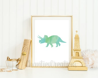Triceratops Watercolor Wall Art Printable. Printable Dinosaur Wall Art for Little Boys Room. Kids Room Wall Art Decor Print