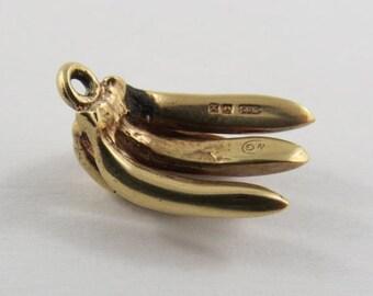 Bunch of Bananas 14K Gold Vintage Charm For Bracelet