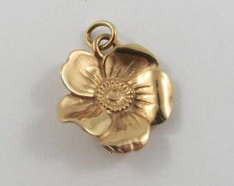 Flower 14K Gold Vintage Charm For Bracelet