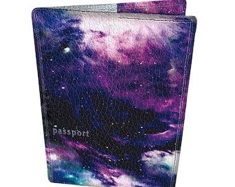 Leather passport cover - Passport holder - Genuine leather case - Handmade passport cover - Original gift - Bright design - Deep Space -#139