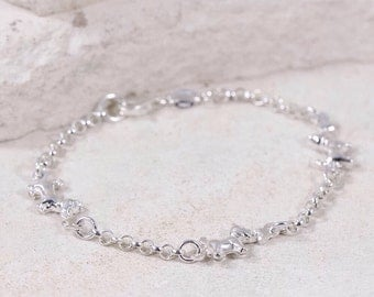 "Sterling Silver 3mm Dog Link Rolo Chain 7"" Bracelet • Made in Italy •"