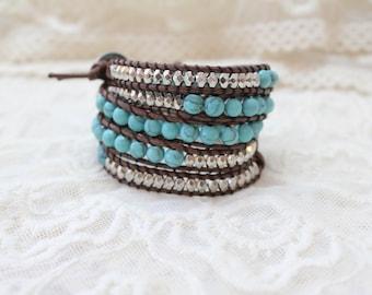 SALE!! Turquoise Wrap Bracelet; Vegan Leather Wrap Bracelet, Beaded Leather Bracelet, Turquoise Bracelet, Boho Wrap, Best Selling Wrap