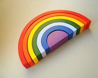 "Rainbow stacker 10"" x 5"". Wood rainbow. Sorting toy. Montessori toys"