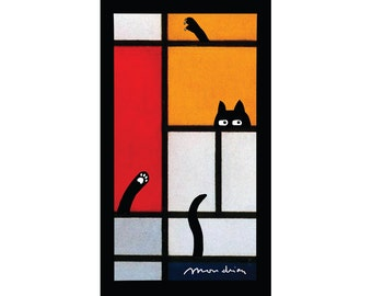 cat magnet, funny magnets, mondrian, famous painting, refrigerator magnet, black cat, funny cats, abstract art