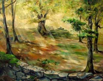Landscape Large painting Oil on canvas Forest landscape