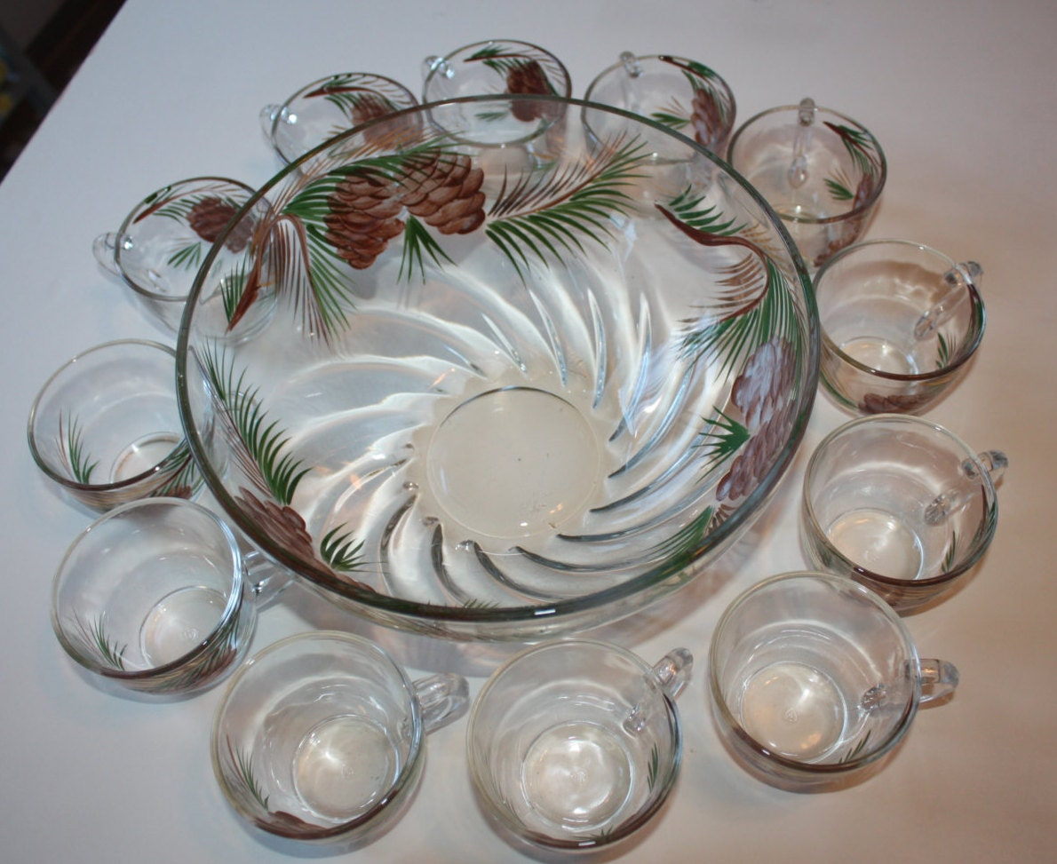 RESERVED FOR JENNY32582 Vintage Pine Cone Punch Bowl with 12