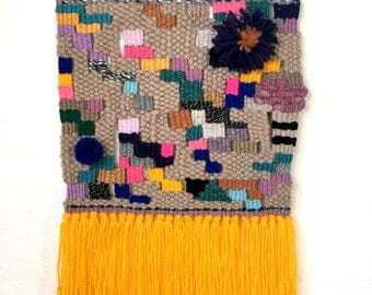 woven wall hanging/ tapestry/ wool art: Pineapple Weaving for Kids room