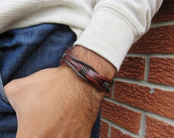 Leather bracelet. Mens leather bracelet. Mens bracelet. Man leather bracelet. Wrap Bracelet. Gift for men. Birthday gift.