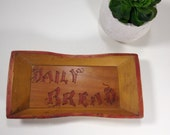 Vintage Wood Small Tray Plate DAILY BREAD Rustic Distressed Aged Brown Yellow Gold Red Wood Hand Made Tray Religious Decor