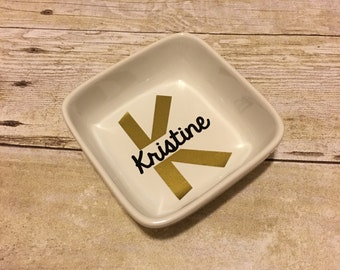 Personalized Ring Dish | Split Initial | Monogrammed Ring Dish | Monogram Ring Dish | Black and Gold | Engagement Gift | Bridesmaid Gift