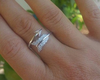 Trendy Celebrity Style Pure 925 Sterling Silver Arrow CZ Ring sizes 6, 7, 8 Boho Jewelry, Bohemian Ring, Stacking Ring