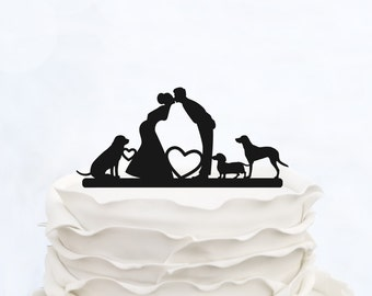 Wedding Cake Topper_Couple Silhouette_Bride And Groom Cake Topper With Dogs_Custom Cake Topper_Funny Cake Topper