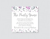 Diamond Panty Game - Printable Silver and Pink Lingerie Shower Panty Game Cards AND Sign - Lingerie Shower Game Bachelorette Party Game 0023