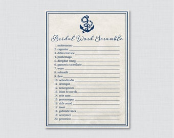 Nautical Bridal Shower Word Scramble - Printable Navy Anchor Bridal Shower Game - Nautical Bridal Word Scramble Game 0011
