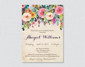 floral lingerie shower invitation printable or printed shabby chic garden lingerie shower invites flower
