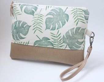 Tropical Banana Leaf Pleather Clutch, Faux Leather Vegan Minimalist Wrist Strap, Palm Canvas Handprint Handbag, Hawaiian Hand sewn Bag