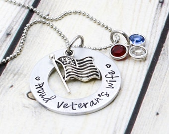 Proud Veteran's Wife Necklace - Vietnam Veteran Jewelry - Patriotic Jewelry - Deployment Jewelry - Proud Army Wife - Proud Air Force Wife
