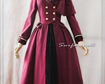 """Surfacespell """"Mais où sont les neiges d'antan"""" Riding Coat, WINE. Lolita Winter Coat"""