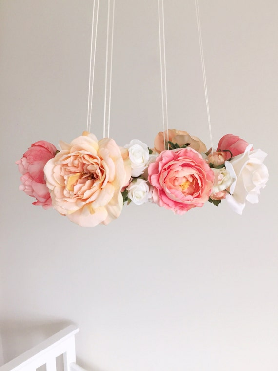 whimsical coral peach nursery flower mobile floral by