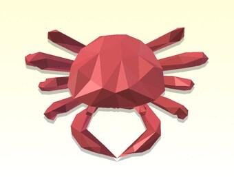 DIY 3D Papercraft Crab - PDF, Printable Model, Template