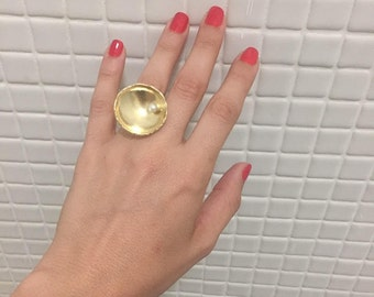 Pearl Ring , Geometric gold plated ring with a pearl , Gift for her.