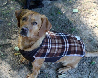 Brown Plaid Fleece Dog Coat, Stretchy Dog Sweater