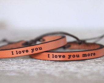 Kids Valentines Day -Leather Cuff - Boho Bracelet - Leather bracelet - Child Leather Bracelet - Valentines Day Gift- Personalized gift