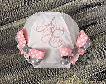 Monogram Baby Girl Diaper Cover, CUSTOM Baby Girl Bloomer, Personalized Toddler Bloomer, Grey Baby Pink, Newborn Photoshoot, Made To Order