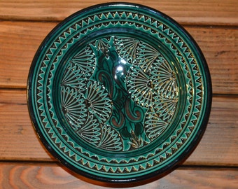 Hand-painted Small Moroccan Ceramic Plate - Dark Green