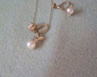 Pearl Necklace and ear rings set