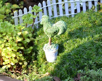 Rooster Topiary in a decorated Pot for Fairy Garden