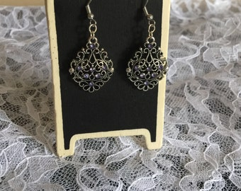 Purple Crystal Earrings,Silver,Light weight