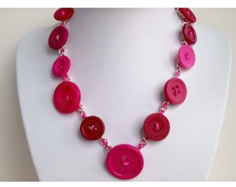 Button Necklace Pink Red. Unusual Unique Gift