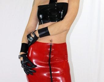 Latex zippered mini skirt