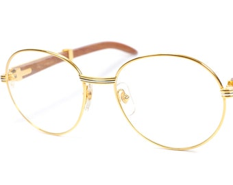 54fd857cef Vintage Cartier Bagatelle Rosewood   rare luxury eyeglasses   round  eyeglasses   pantos glasses   new