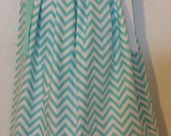 Green Chevron Pillowcase Dress Size 4T