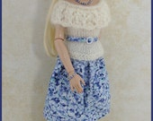 Blue and White Top and Skirt Outfit