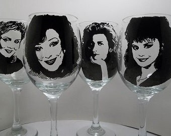 Designing Women, Hand painted glasses, Painted wine glasses