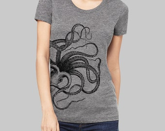 Octopus, Octopus Tshirt - graphic tees for women, screen print, cool t shirts, juniors clothing, womens tshirts, graphic tee