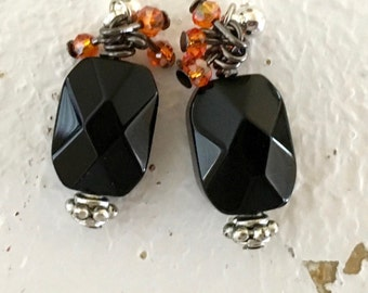 Black Faceted Czech Glass Crystal Earrings with Sterling Silver Plated Findings and Orange Crystal Accents
