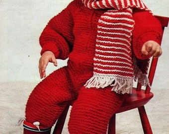 Knitting Pattern Baby All In One Suit : Snow suit pattern Etsy