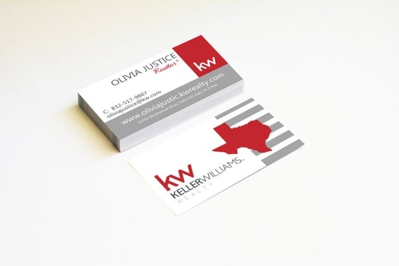 Real estate business cards kw modern red map by for Modern real estate business cards