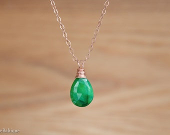 Natural Emerald necklace, Genuine Emerald Pendant, Green Drop Dainty May Birthstone Necklace: 14K Gold Filled, Rose Gold, Sterling Silver