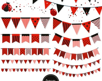 Banner flag clipart, ladybug bunting banners, bunting clipart, party banners, bunting flags, baby shower clipart  - CA403